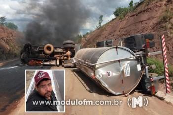 Carreta tomba, pega fogo e motorista morre na BR-352,...