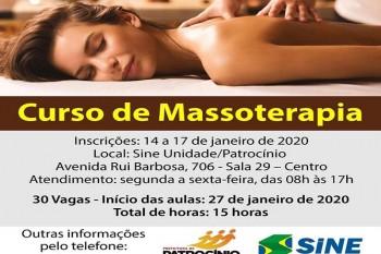 SINE de Patrocínio oferece curso de massoterapia