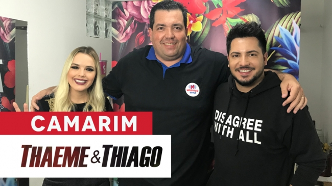 No camarim com Thaeme e Thiago ExpôGuima 2018 - Módulo FM