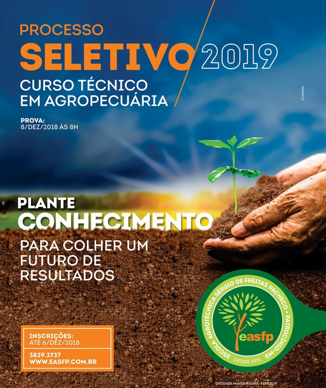Escola Agrotécnica Sérgio de Freitas Pacheco abre inscrições para curso técnico em Agropecuária
