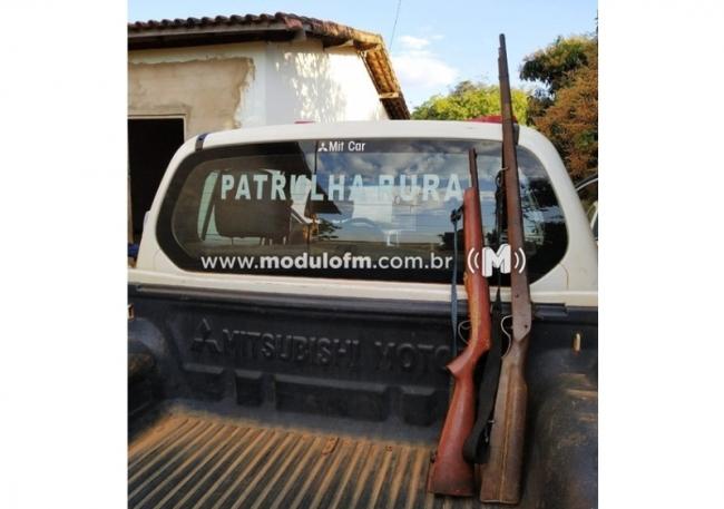 Armas e munição são apreendidas e homem é preso na zona rural de Patrocínio