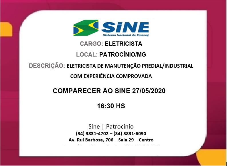 27-05-2020 Sina vaga Eletricista