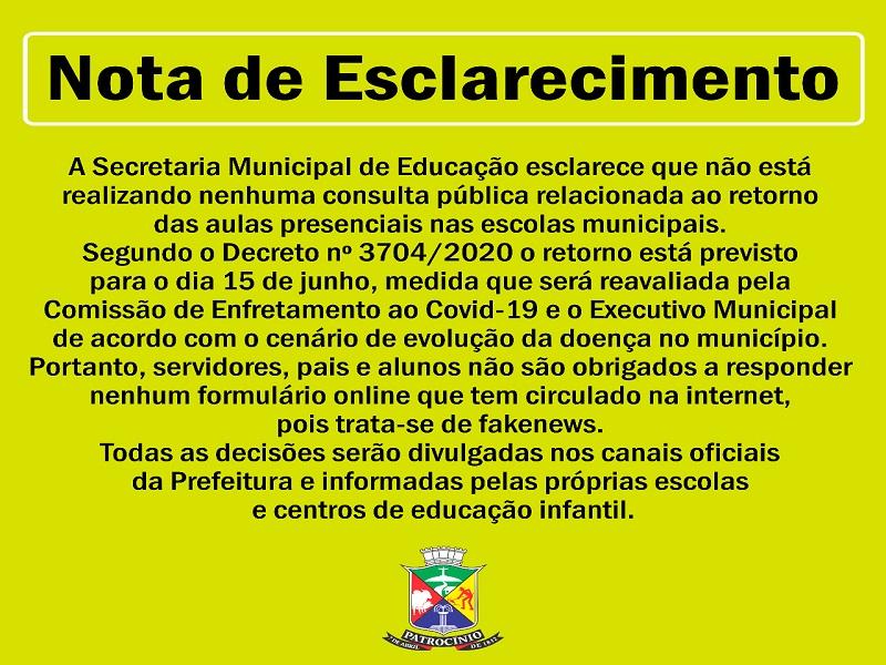 28-05-2020 Comunicado secretaria educacao