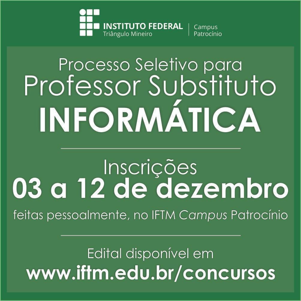 IFTM abre processo seletivo para professor substituto de informática