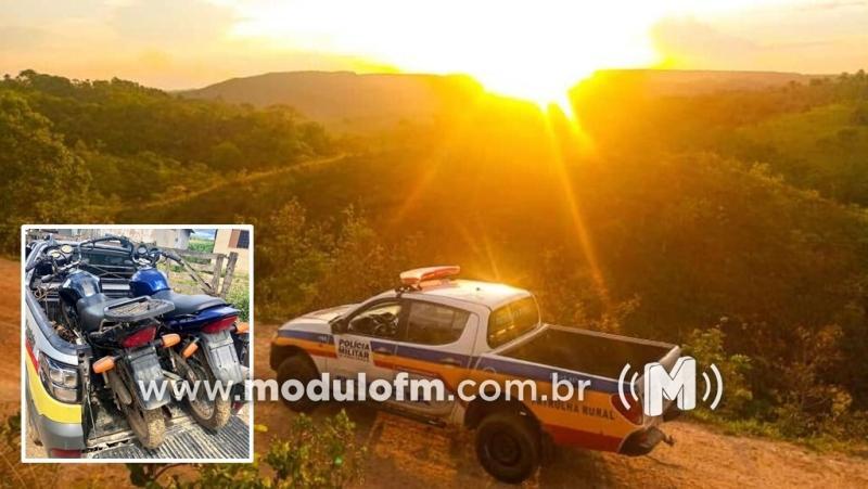 Duas motos furtadas são localizadas em propriedade rural de Pedros e quatro menores são apreendidos