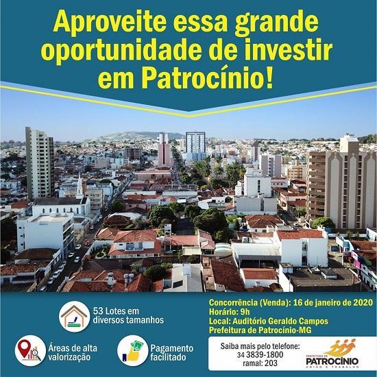 Prefeitura promove concorrência pública para venda de 53 lotes