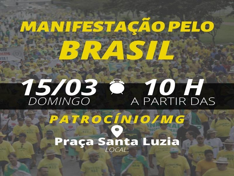 Manifestação pelo Brasil acontece neste domingo em Patrocínio