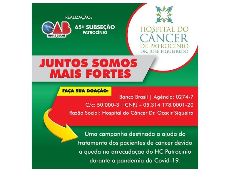 OAB Patrocínio lança campanha de apoio ao Hospital do Câncer