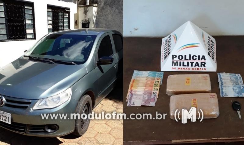 PM intercepta veículo em Patrocínio carregado de drogas em Uberaba