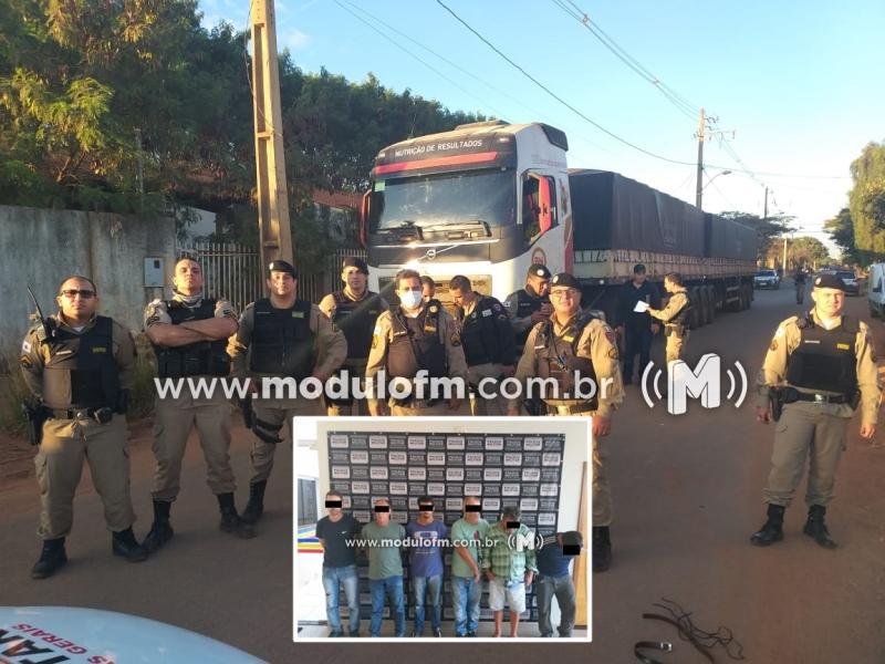 Quadrilha é presa e carreta roubada de Patrocínio é recuperada em Araguari