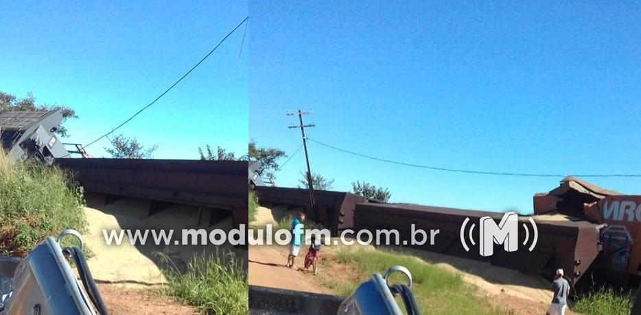 Trem descarrila e vagões carregados com soja tombam em Catiara