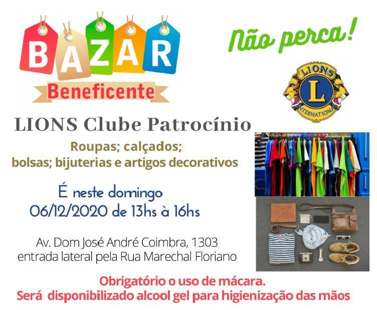 Lions Clube de Patrocínio realiza bazar beneficente no próximo domingo