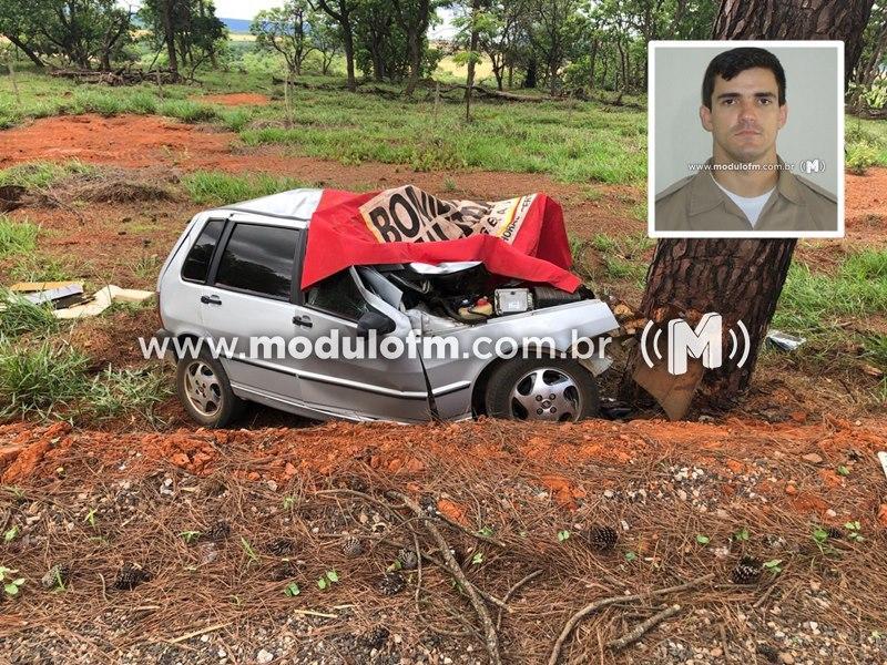 Policial Militar morre em colisão contra árvore na BR-146