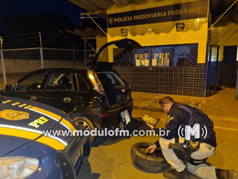 PRF apreende droga em estepe de carro durante abordagem na BR-365