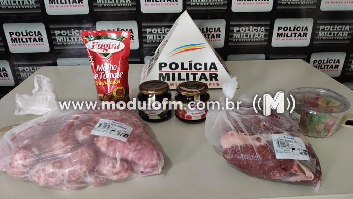 Polícia Militar prende autor de furto em Supermercado.