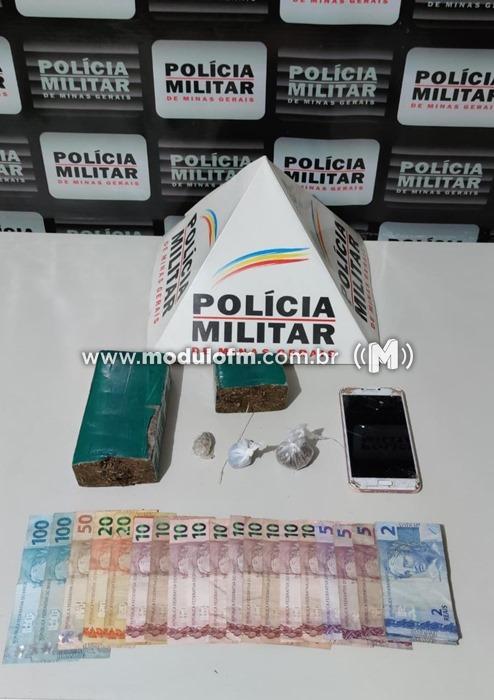 Polícia Militar prende homem e drogas em comercio no...