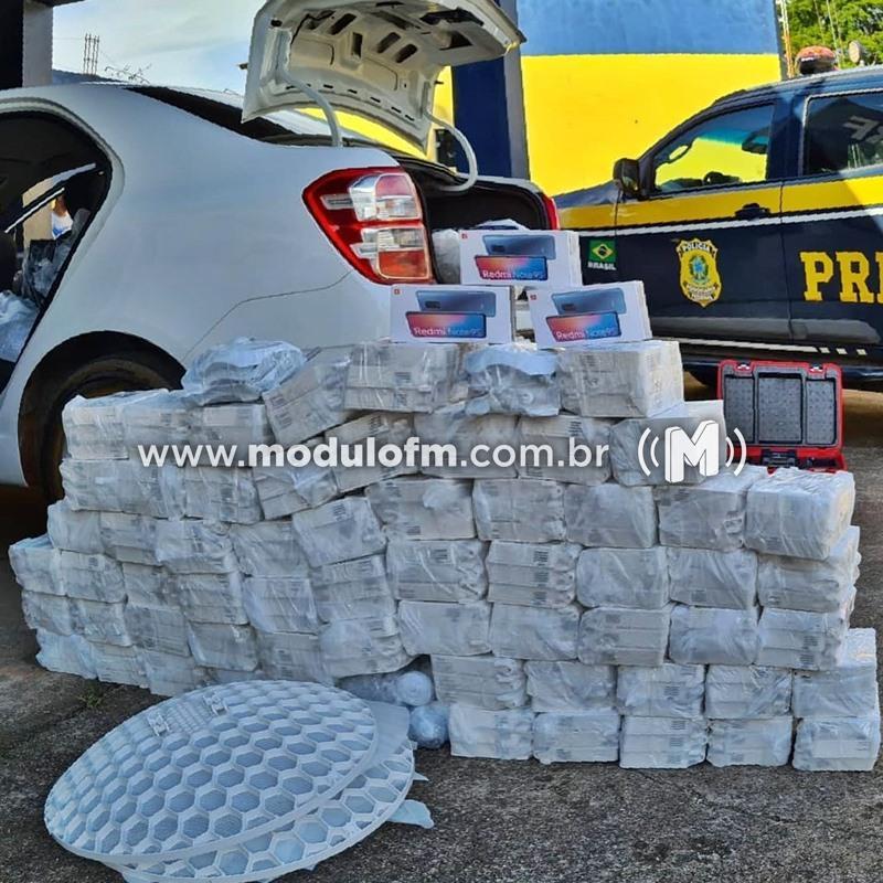 PRF apreende 100 mil reais em mercadorias do Paraguai