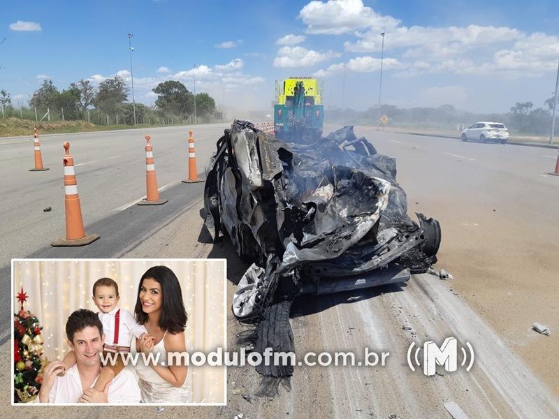 Tragédia: Família de Coromandel é morta por caminhão desgovernado que bate e provoca incêndio em praça de pedágio na BR-050