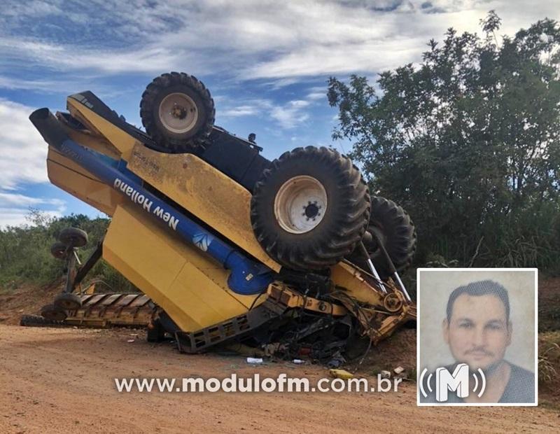 Trabalhador rural morre após colheitadeira capotar na zona rural...