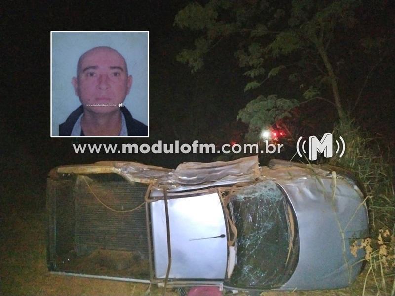 Caminhonete capota em acidente e deixa um morto e um ferido na MG-190 em Monte Carmelo