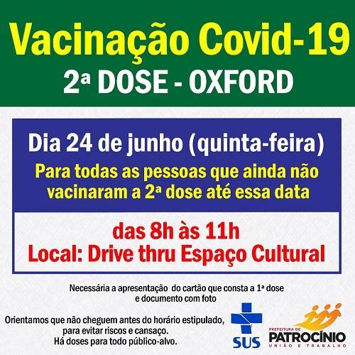 Segunda dose da vacina de Oxford será aplicada nesta quinta-feira (24) para quem tomou a primeira