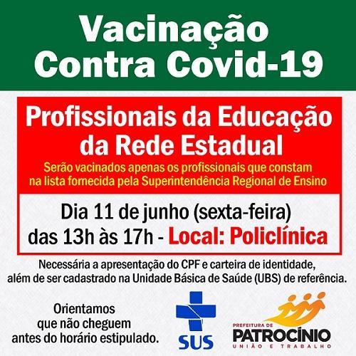 Vacinação para os profissionais da educação da rede estadual será nesta sexta-feira (11/06)
