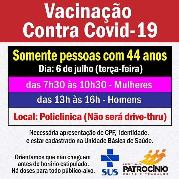 A imunização contra a COVID-19 em Patrocínio segue em...