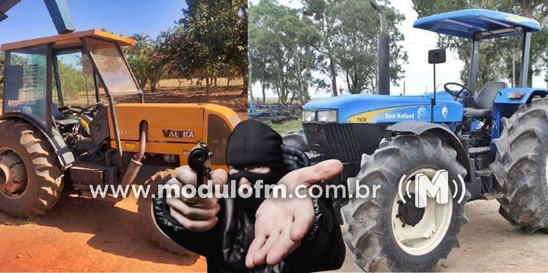 Criminosos invadem fazenda e levam dois tratores na região...