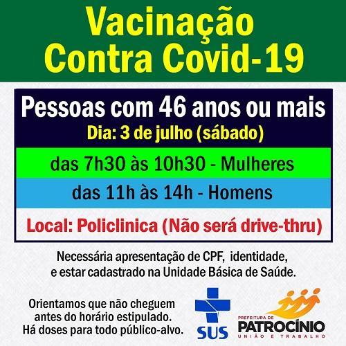Neste sábado haverá vacinação na policlínica de Patrocínio e o publico alvo será os de 46 anos de idade