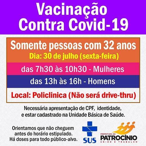 Secretaria de Saúde vacina pessoas de 32 anos contra Covid-19 nesta sexta-feira...