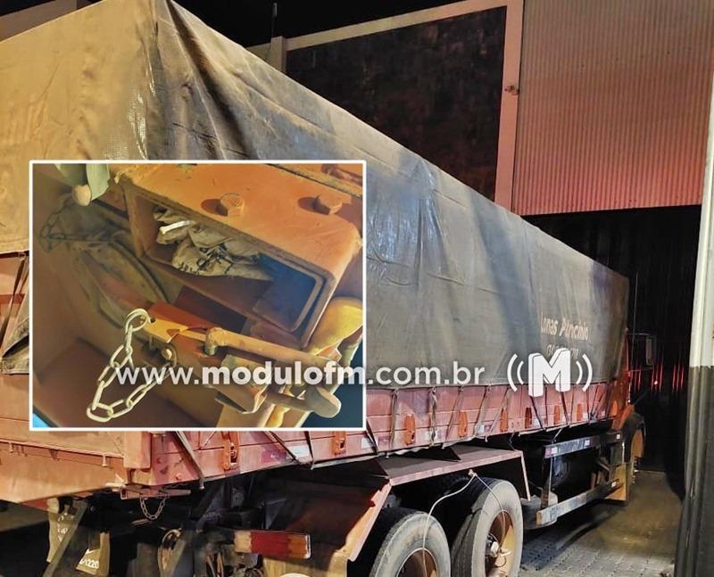PM prende homem e apreende caminhão com compartimento secreto...