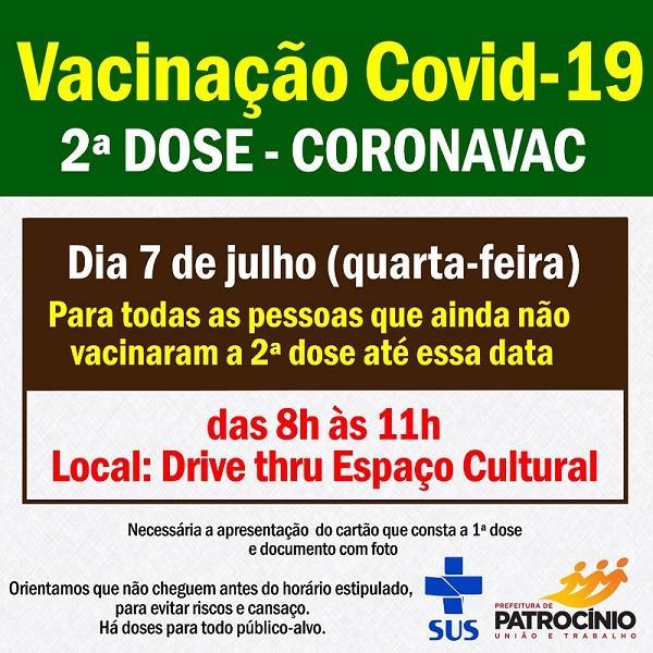 Segunda dose da CORONAVAC será aplicada nesta quarta-feira (07/07)