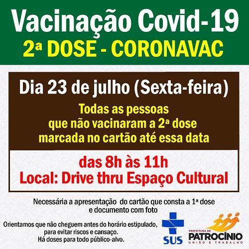 Segunda dose da CORONAVAC será aplicada nesta sexta-feira (23/07)