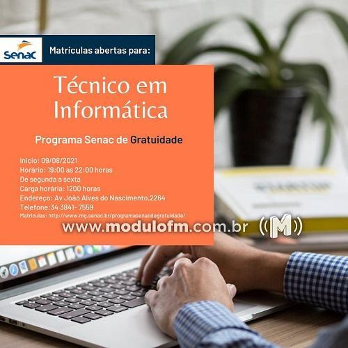 SENAC Patrocínio: Curso Técnico em Informática GRATUITO