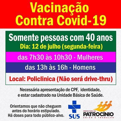 Vacinação contra Covid-19 segue na próxima segunda-feira (12/07)imunizando as...