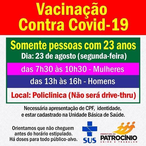 A vacinação contra a COVID-19 em Patrocínio segue na...