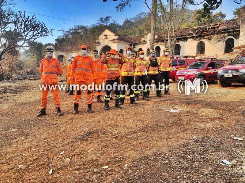 Chega ao fim incêndio no entorno das ruínas do hotel Serra Negra em Patrocínio