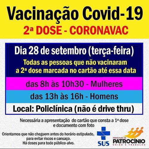 Aplicação da segunda dose com a vacina CORONAVAC será nesta terça-feira(28)09)