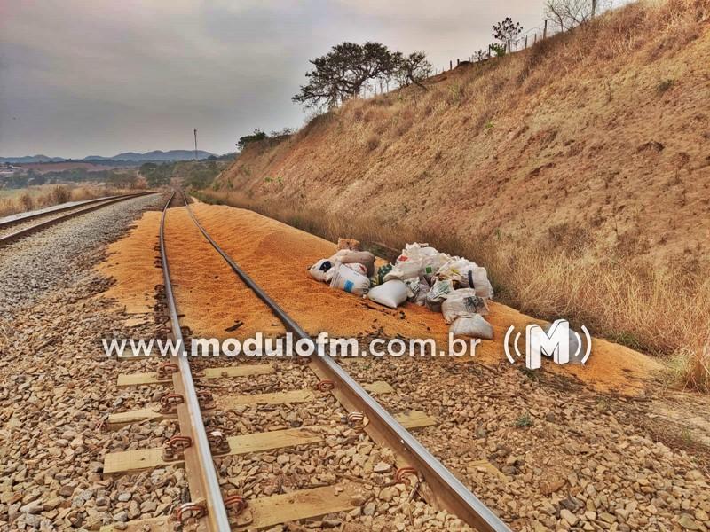 Carga de soja em vagões de trem é alvo de marginais em Salitre de Minas
