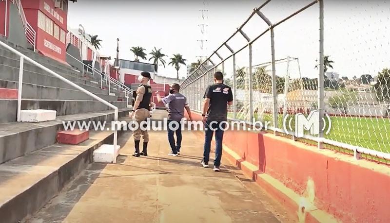 Estádio Júlio Aguiar foi vistoriado pela PM para jogos...