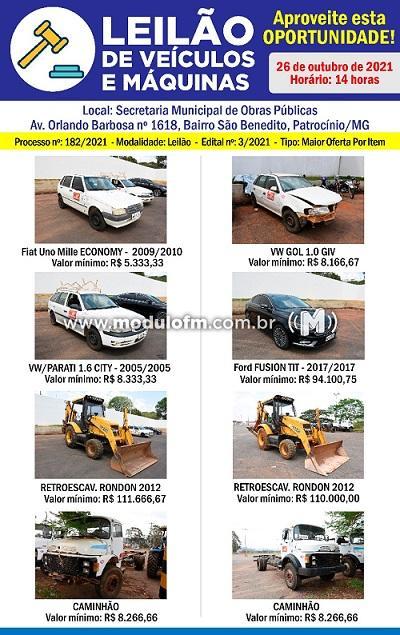 Prefeitura realiza leilão de veículos e maquinas.