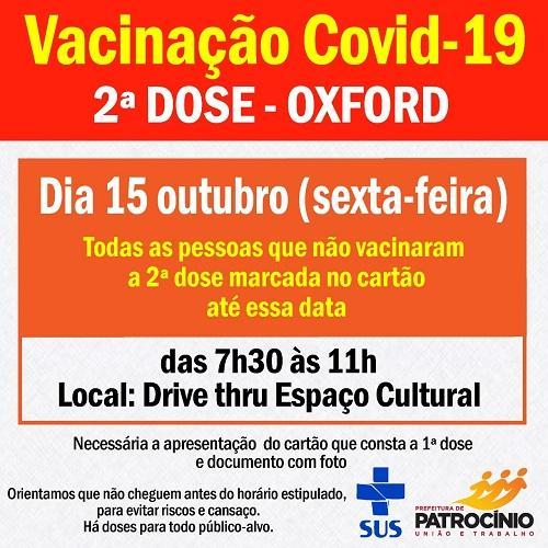 Sexta-feira (15/10) tem segunda dose da vacina OXFORD